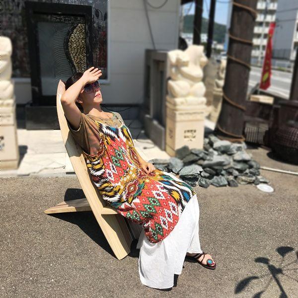 サーフボード チェア【ハイビスカス&イルカ】/ビーチスタイルインテリア/リゾートインテリア