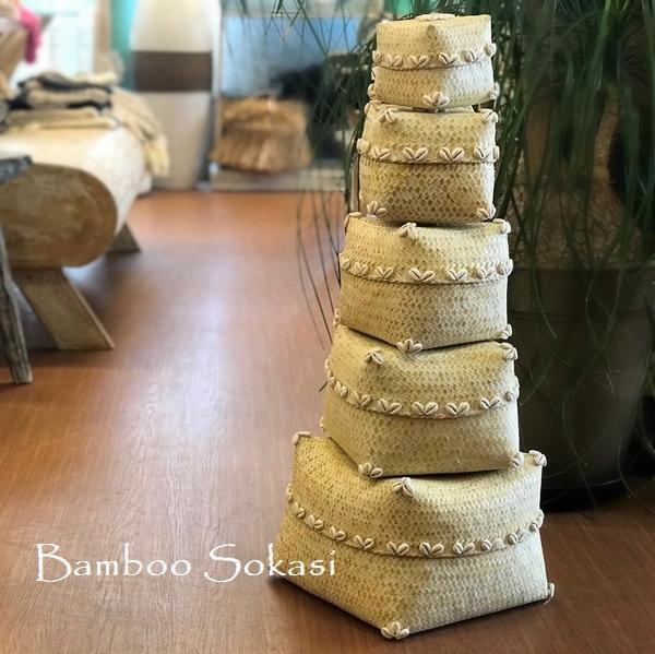 ソカシ【イエロー】/バンブー&シェルのソカシ/蓋つきかご/バリ雑貨