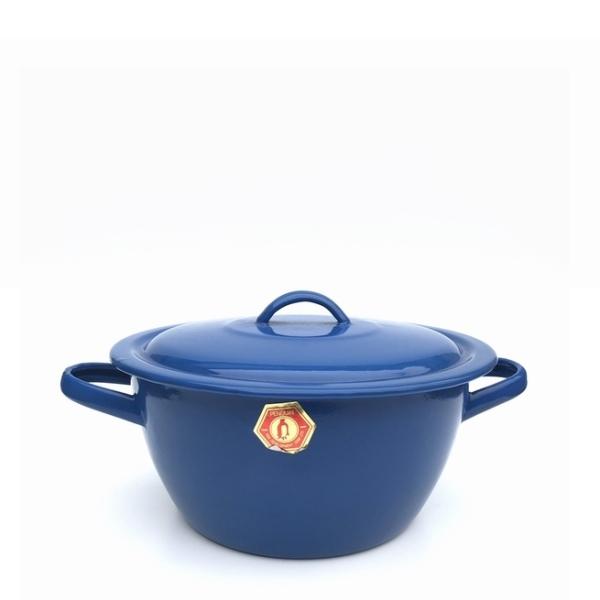 ホーロー鍋/琺瑯鍋/蓋付き鍋/両手鍋 琺瑯鍋【H10×φ21】