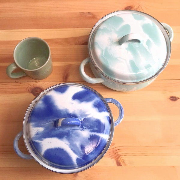 琺瑯/蓋つき両手鍋【マーブル柄】【アイスブルー/ミントグリーン】 Φ18cm