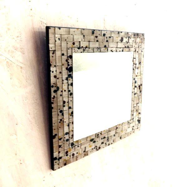 モザイクミラー/ スクエアミラー/ガラスモザイクのミラー・鏡【ベージュ×スパッタリング】