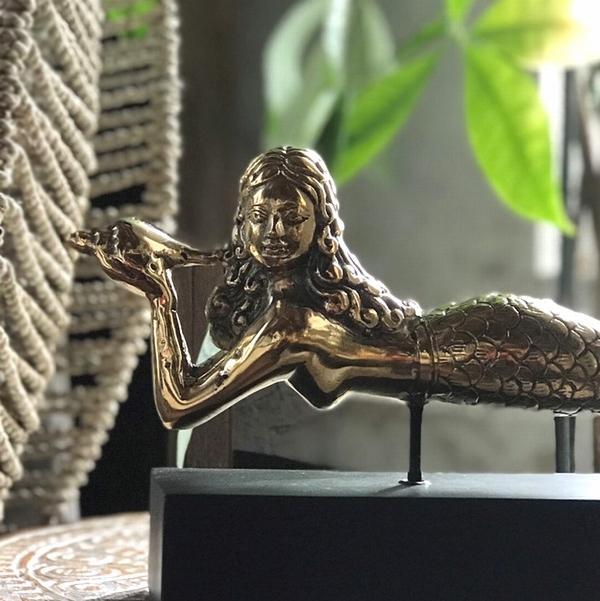 真鍮のマーメイド/人魚のオブジェ/ブラスオブジェ