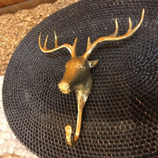 ルサクトブ(トナカイ)のフック 【ゴールド】 真鍮製 壁掛けフック