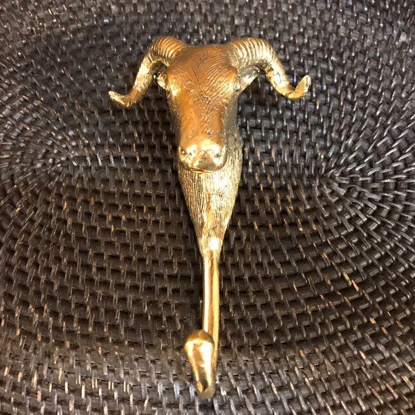 カンビン(山羊)のフック 【ゴールド】 真鍮製 壁掛けフック