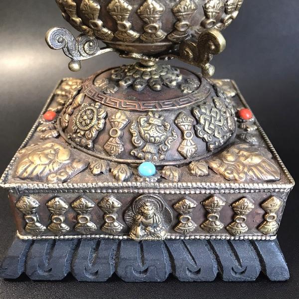 マニ車・卓上用【吉祥八紋・マントラ・ドルジェ】チベット仏教/チベット密教法具/ネパール雑貨