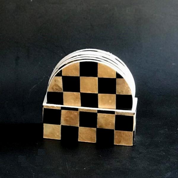 コースター/シェルコースター&ケースのセット/パールシェル/カピス貝のコースター【ゴールド&ブラック】