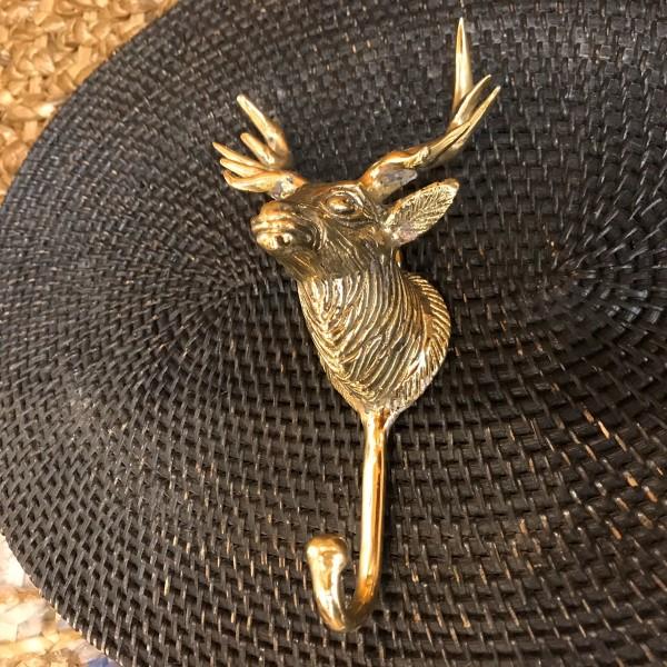 キジャン(鹿)のフック 【ゴールド】 真鍮製 壁掛けフック