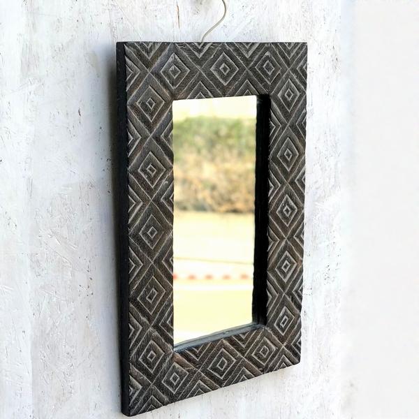 天然木のミラー/手彫りレリーフの壁掛けミラー/ウォールミラー/シャビー