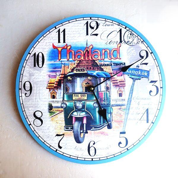 壁掛け時計/掛け時計/トゥクトゥク ノスタルジックイラスト
