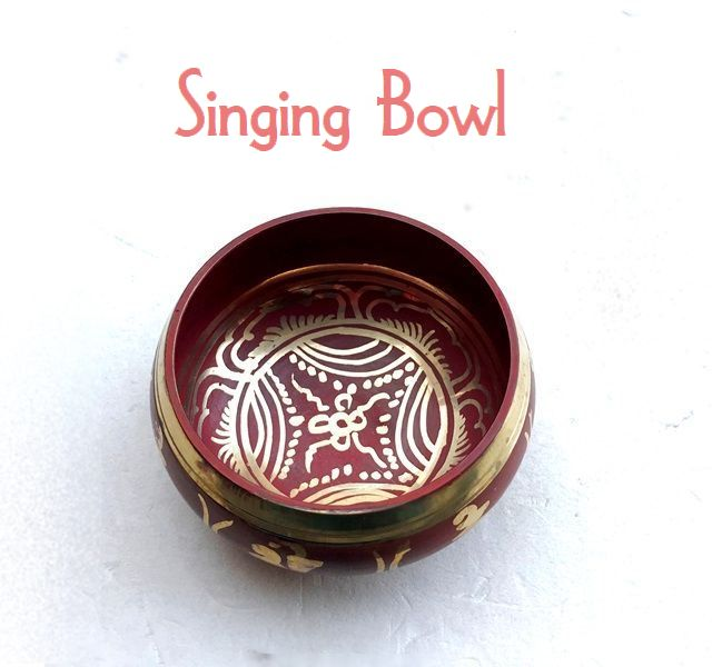 シンギングボール【Φ11cm・赤】蓮華/チベット密教法具/ネパール雑貨