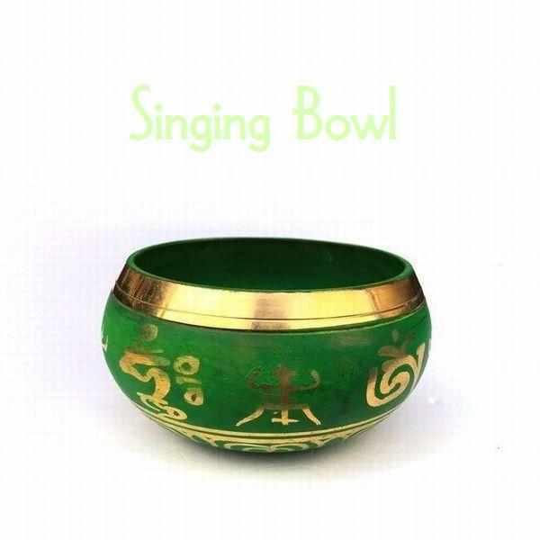 シンギングボール【Φ11cm・緑】癒しの音色/チベット密教法具/ネパール雑貨