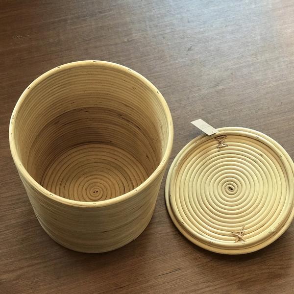 籐(とう) ゴミ箱 【円筒形】 蓋つき 小物入れ