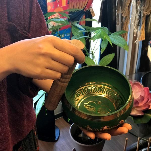 シンギングボール【Φ12.5cm・緑】ブッダアイ/チベット密教法具/ネパール雑貨