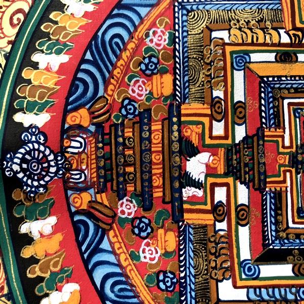 タンカ/手書きタンカ/時輪タントラ/カーラチャクラ/チベット曼荼羅【レッド系】