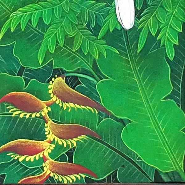 バリ絵画/プンゴセカン【オカメインコ】/花鳥風月 額付き