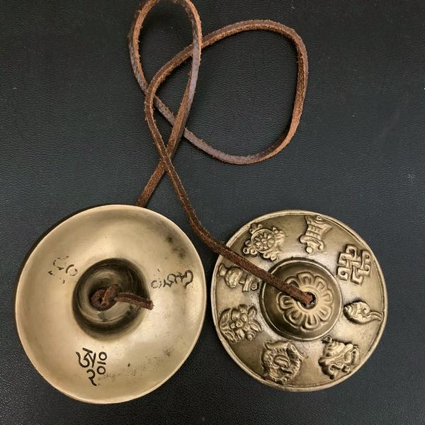 ティンシャ【吉祥八紋】【ライトブロンズ】【φ7cm】チベット密教法具
