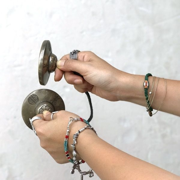 ティンシャ【マントラ 梵字】【ライトブロンズ】【φ6.5cm】チベット密教法具