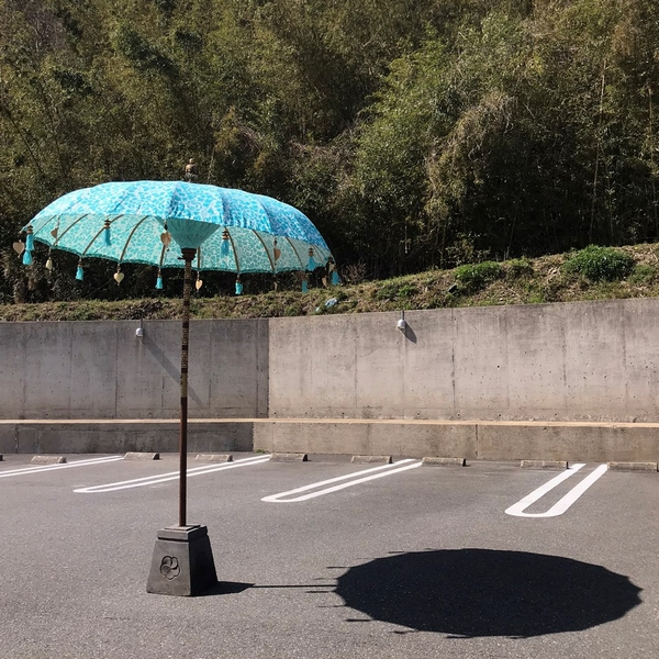バリ傘/パユン/プリント柄のバリ傘/バリ島の伝統傘【2m55cm】【ターコイズ】