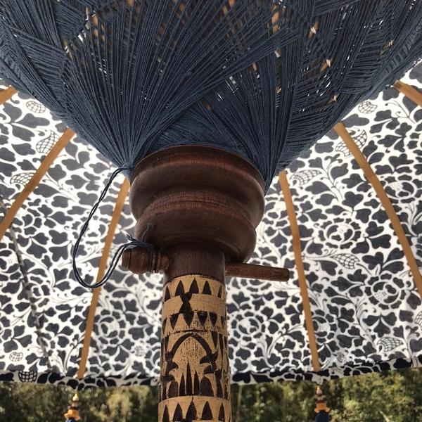 バリ傘/パユン/プリント柄のバリ傘/バリ島の伝統傘【2m55cm】【ネイビー】