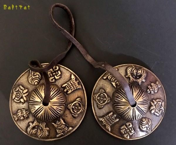 ティンシャ&ティンシャケース【吉祥八紋様】【アンティークブロンズ】チベット密教法具