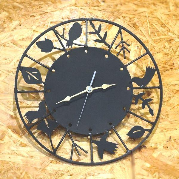 アイアン壁掛け時計/バード&リーフのシルエット時計