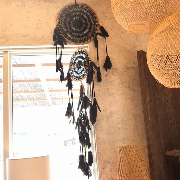 ドリームキャッチャー マクラメのドリームキャッチャー 4連 【ブラック】/約H160cm/お守り・魔除け