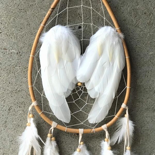 ドリームキャッチャー【翼・フェザー・】【ティアドロップ】H80cm いい夢を見るためのお守り