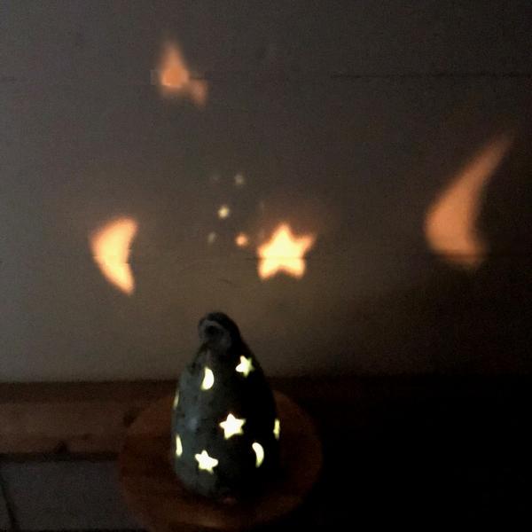 キャンドルホルダー テラコッタ・素焼きのキャンドルホルダー 【星と三日月】 【ターコイズグリーン】