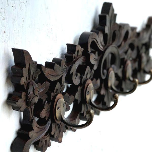 壁掛けフック/フック付き木彫りパネル/リーフ柄