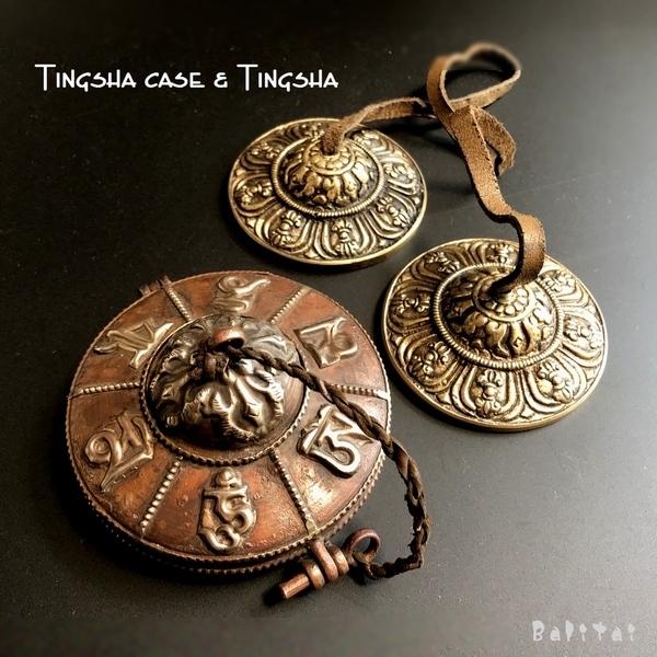 ティンシャ&ティンシャケース【マントラ梵字】/チベット密教法具