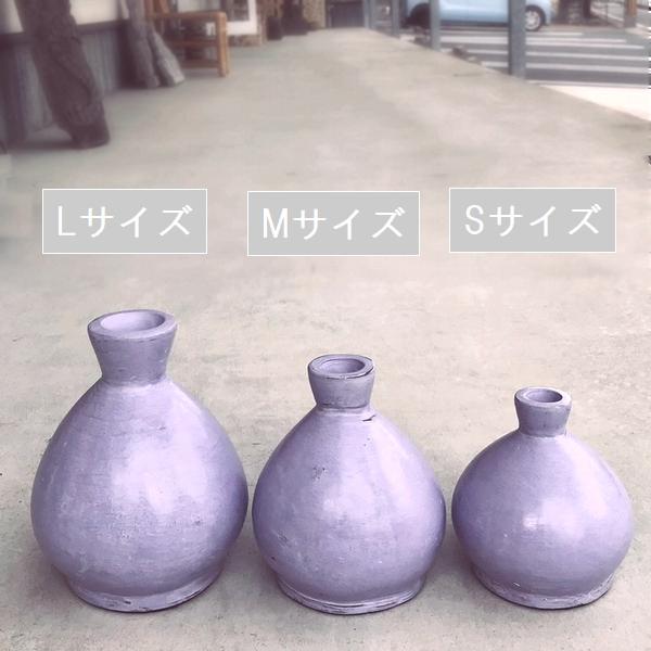 フラワーベース/花瓶 テラコッタ・素焼きのポット 【パープル】【SMLサイズ】