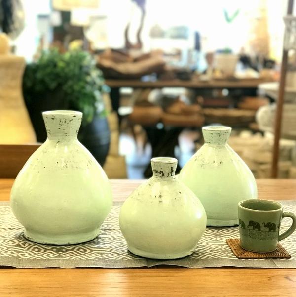 フラワーベース/花瓶 テラコッタ・素焼きのポット 【ライトグリーン】【SMLサイズ】