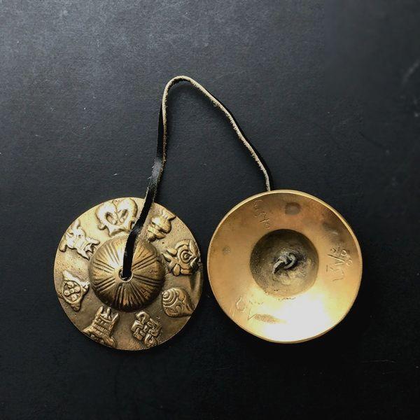 ティンシャ【吉祥八文様】/ブロンズカラー/直径7cm/チベット密教法具