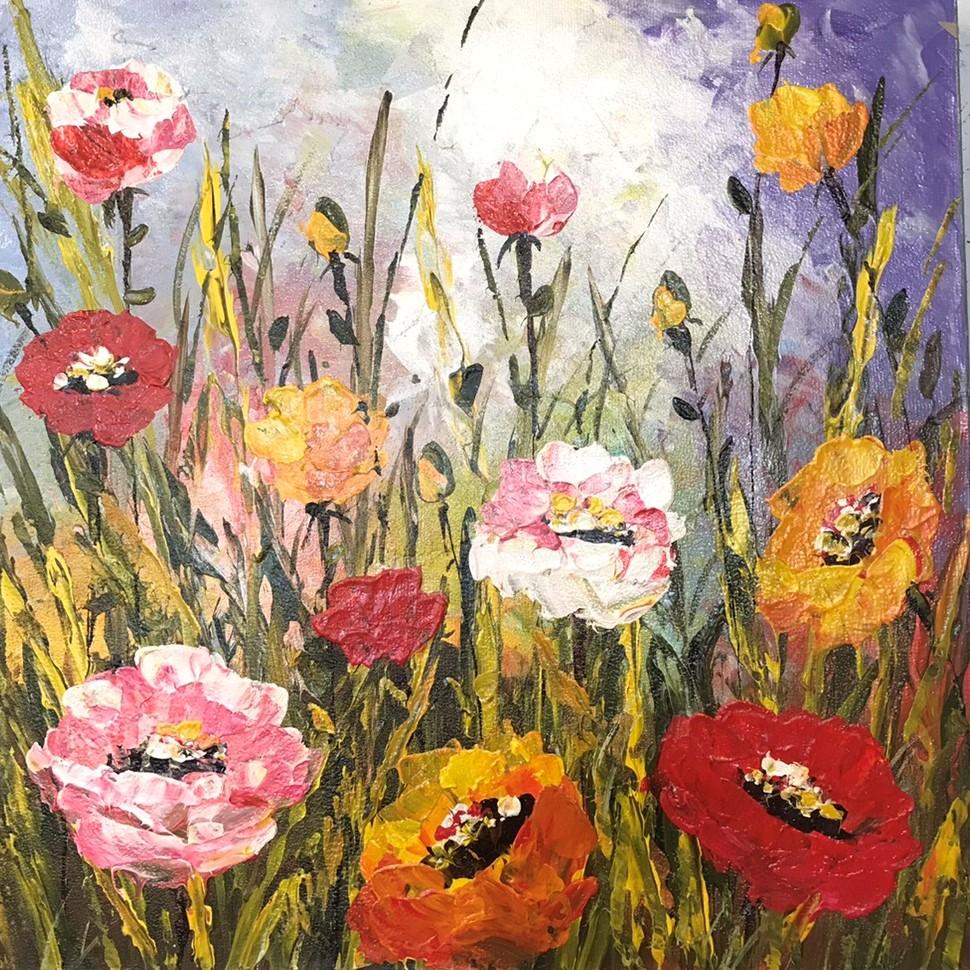 ポピー絵画/Abstract Flower/ポピー ケシの花/アートパネル/ウォールデコ