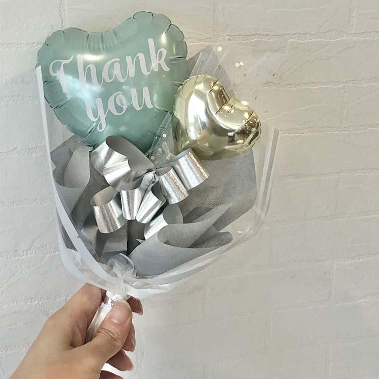 発表会・卒業・送別のプチギフトに ミニバルーン花束 Thank youパステル