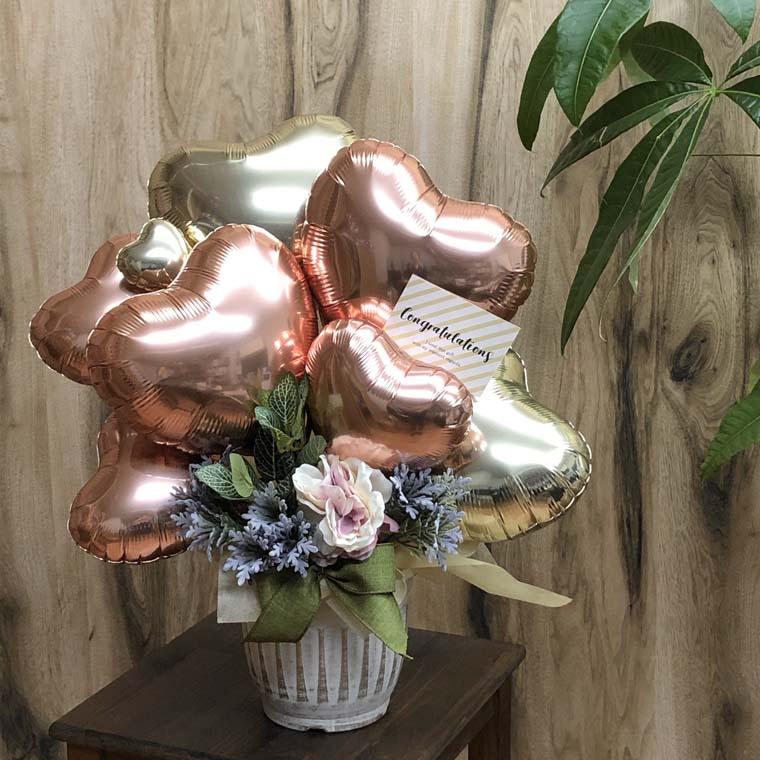 開店祝い・周年祝い・送別にも! ローズゴールドで落ち着いた雰囲気のオシャレなバルーンギフト