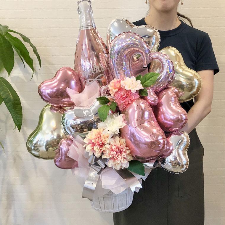 開店祝い・周年祝いなどに 華やかな置き型バルーンギフト シャンパン・チェーンオブハート