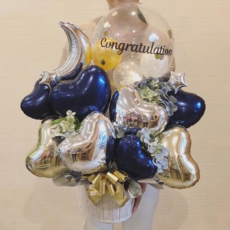 メッセージが選べる開店祝いや周年祝いに人気の卓上バルーンギフト☆ネイビームーン