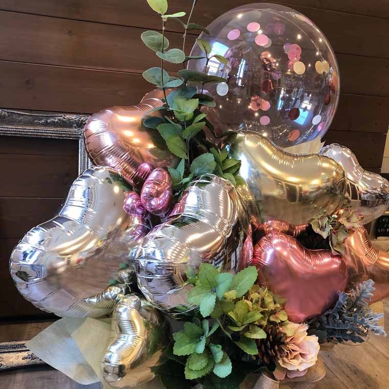 開店・周年祝いなどに☆ ナチュラルで大人っぽい雰囲気の置き型バルーンギフト コンフェッティ入り