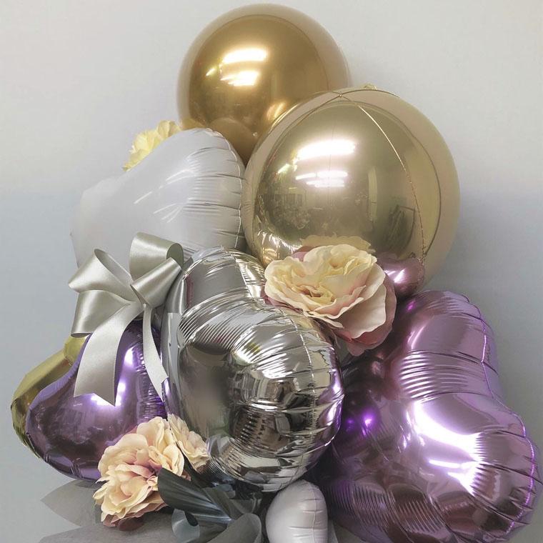 誕生日のギフトや開店・周年のお祝いに! 上品なパープルとゴールドカラーで落ち着いた雰囲気の置き型バルーンギフト