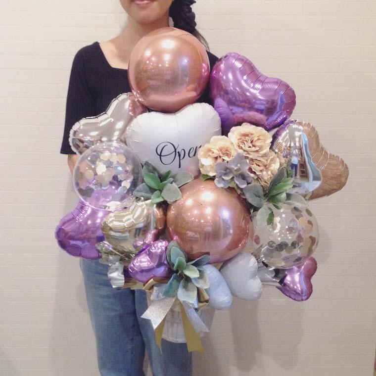 開店祝いや周年のお祝いに☆ローズゴールドで大人可愛い置き型バルーンギフト