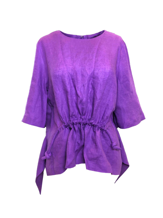 front-drawstring italian linen blouse