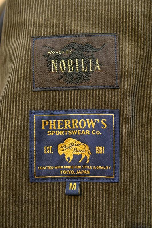 フェローズ ジャケット PHERROW'S 21W-PTWSC2 コーデュロイ サックコート ジャケット オリーブ