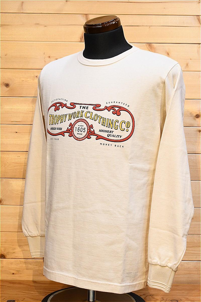 トロフィークロージング 長袖Tシャツ TROPHY CLOTHING TR21AW-202 15TH WORK LOGO OD L/S TEE ナチュラル