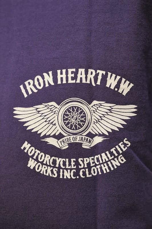 アイアンハート Tシャツ IRON HEART IHT-2104  7.5oz ヘビーボディプリントTシャツ(フライングホイール柄)パープル