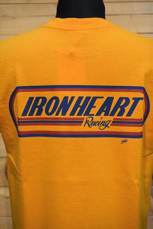 アイアンハート Tシャツ IRON HEART IHT-2103 7.5oz ヘビーボディプリントTシャツ(レーシングロゴ柄)マスタード