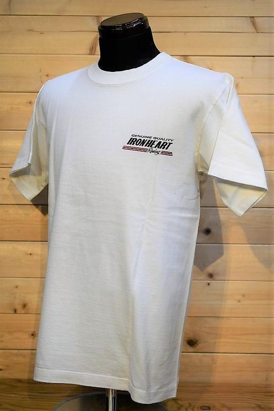 アイアンハート Tシャツ IRON HEART IHT-2103 7.5oz ヘビーボディプリントTシャツ(レーシングロゴ柄)ホワイト