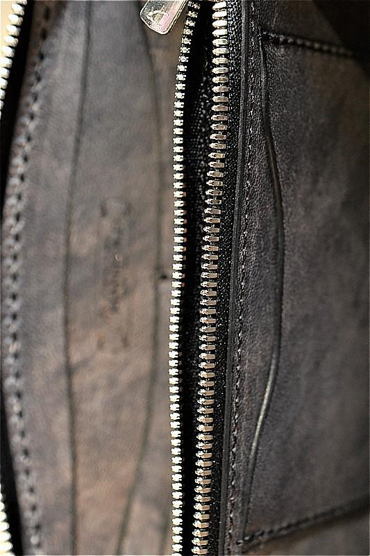 マニフォールド ウォレット MANIFOLD MW-11 ラウンドファスナー ウォレット BKV ブラック ヴィンテージ
