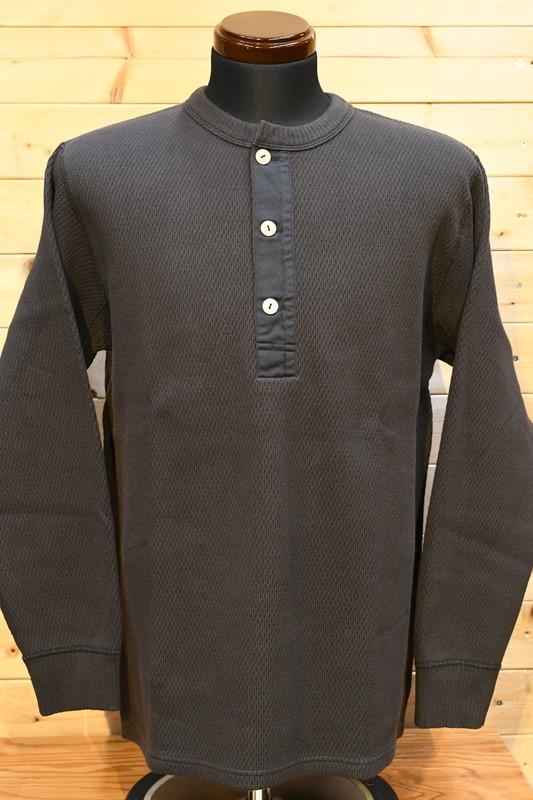 フェローズ  長袖Tシャツ PHERROW'S 21W-PWHT1  ヘビーハニカム ワッフル サーマル ロンT  Sブラック