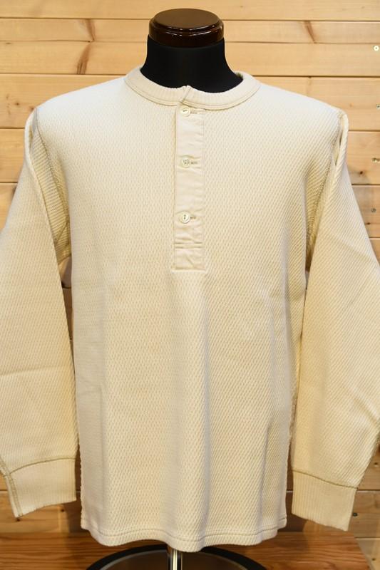フェローズ  長袖Tシャツ PHERROW'S 21W-PWHT1  ヘビーハニカム ワッフル サーマル ロンT  ナチュラル